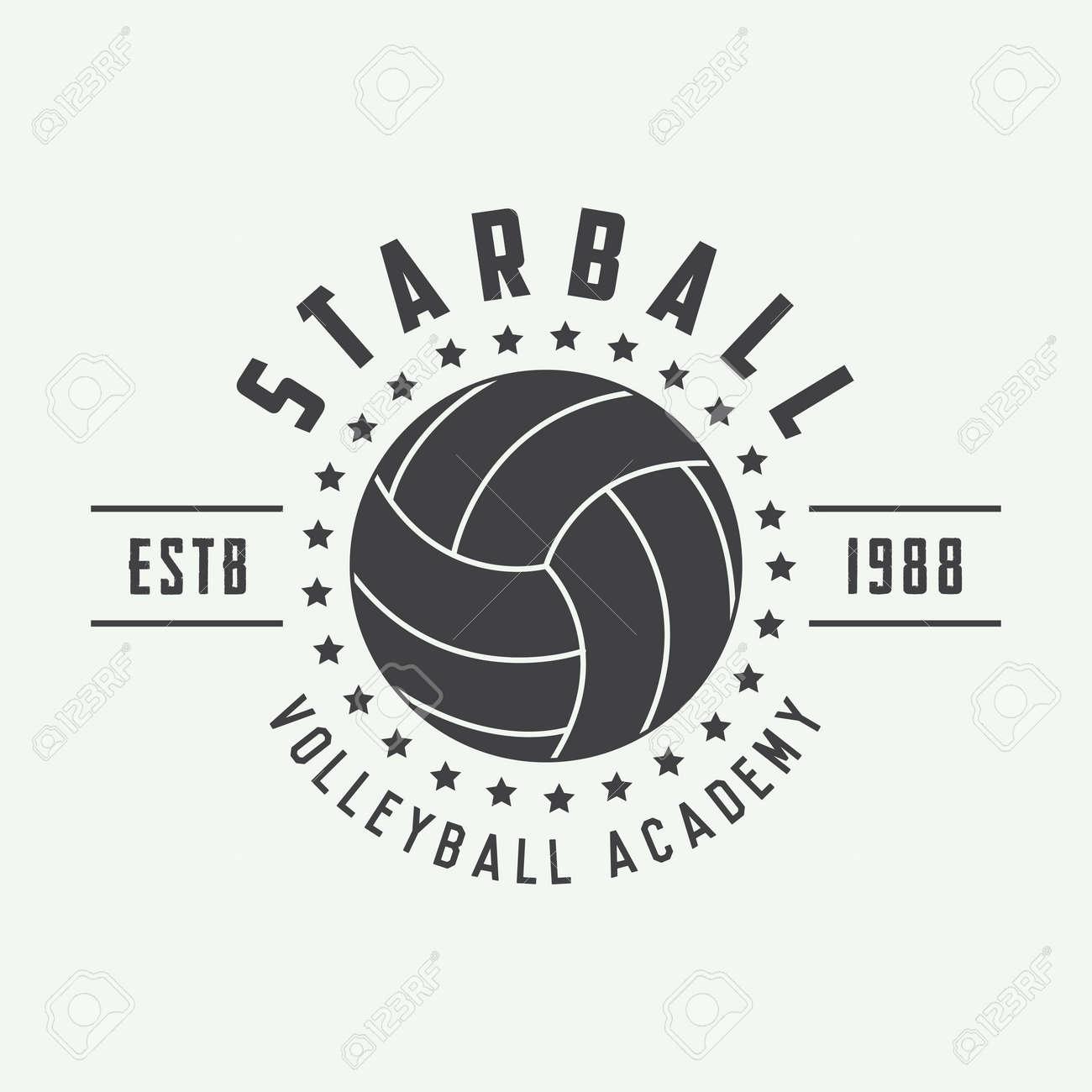 Tiquette De Volley Ball Vintage Embleme Ou Logo Vector Illustration Banque D