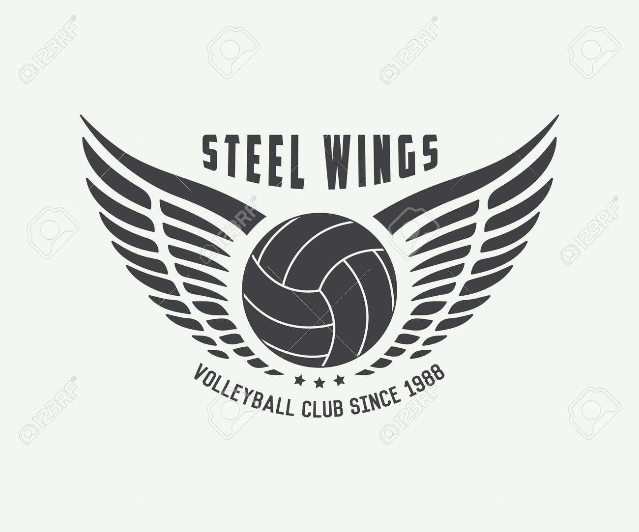 tiquette de volley ball vintage emblème ou logo vector