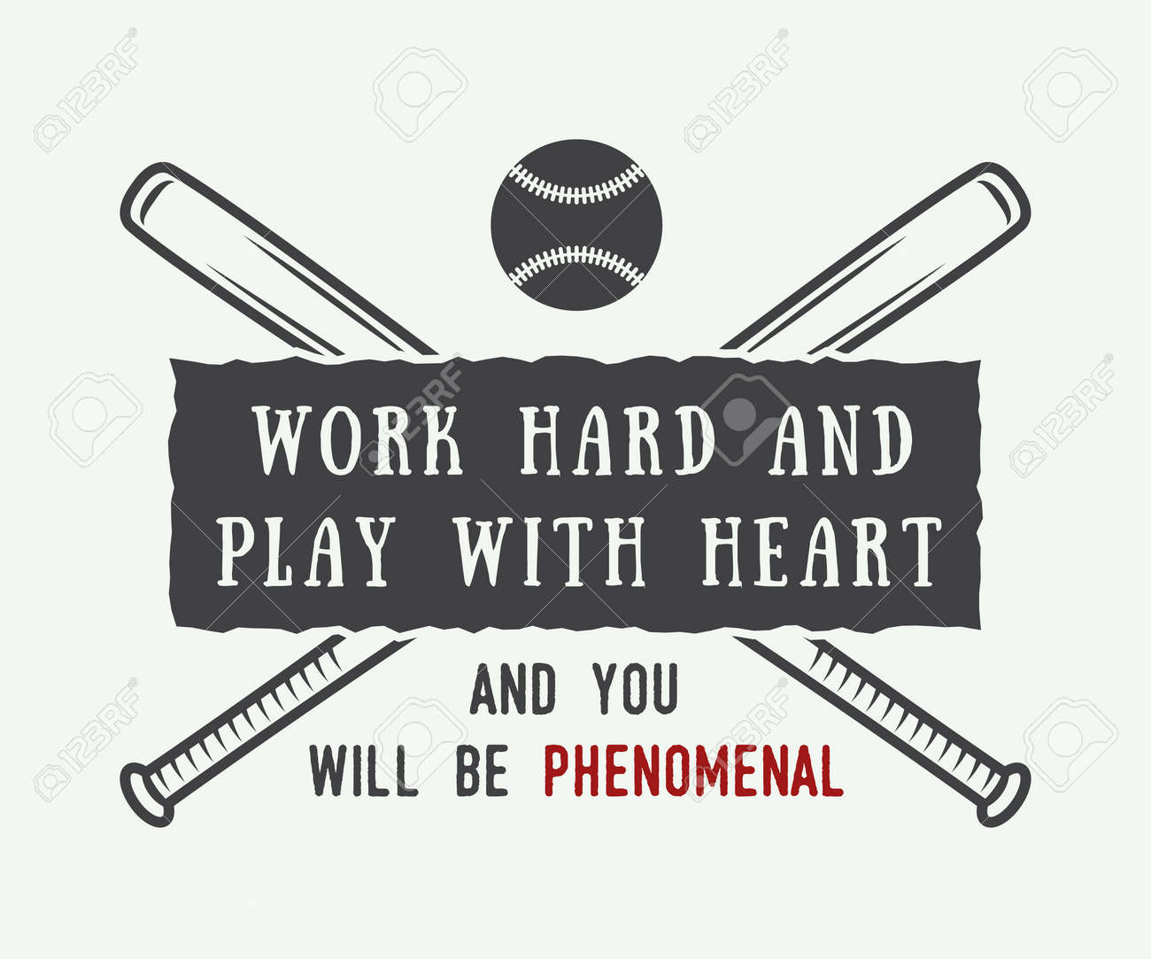 Vintage Baseball Logo Emblem Badge With Slogan And Motivation