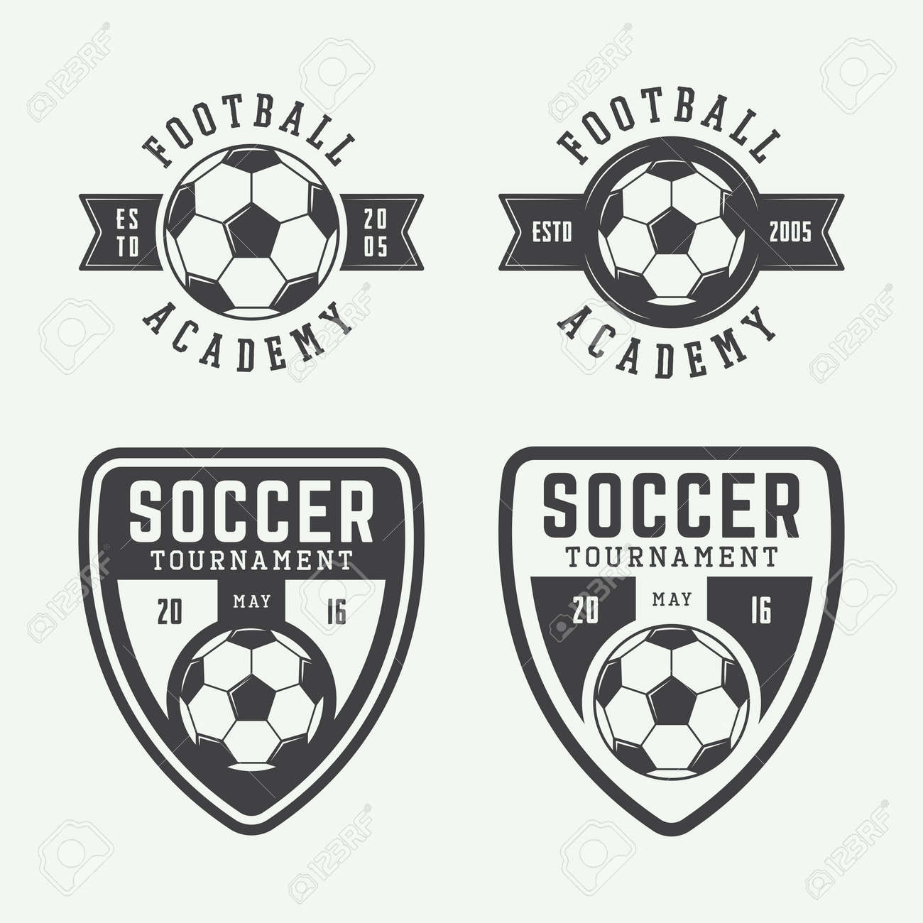 Set Of Vintage Soccer Or Football Logo Emblem Badge Vector