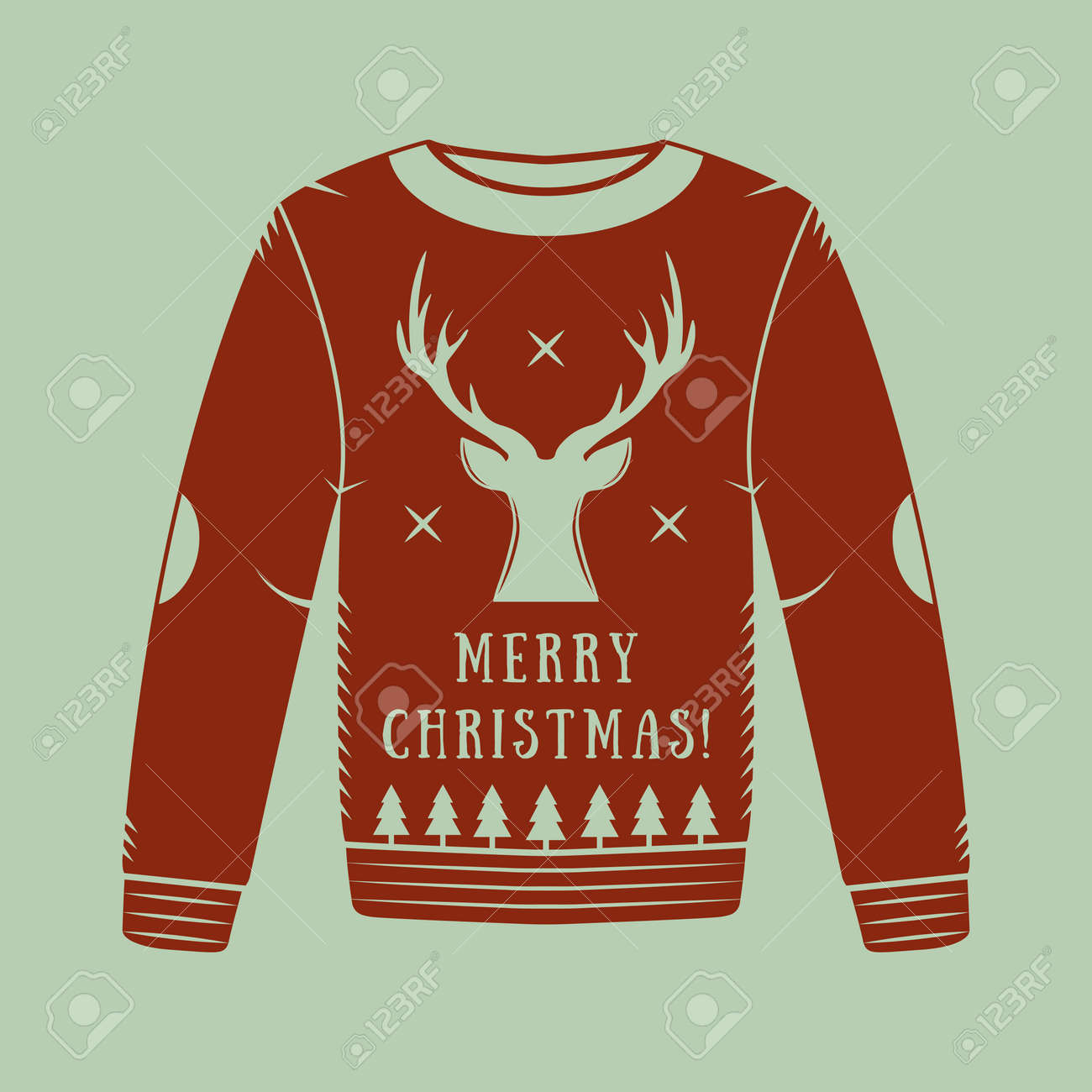 Vintage Christmas Sweaters.Vintage Christmas Sweater With Deer Trees And Stars In Red