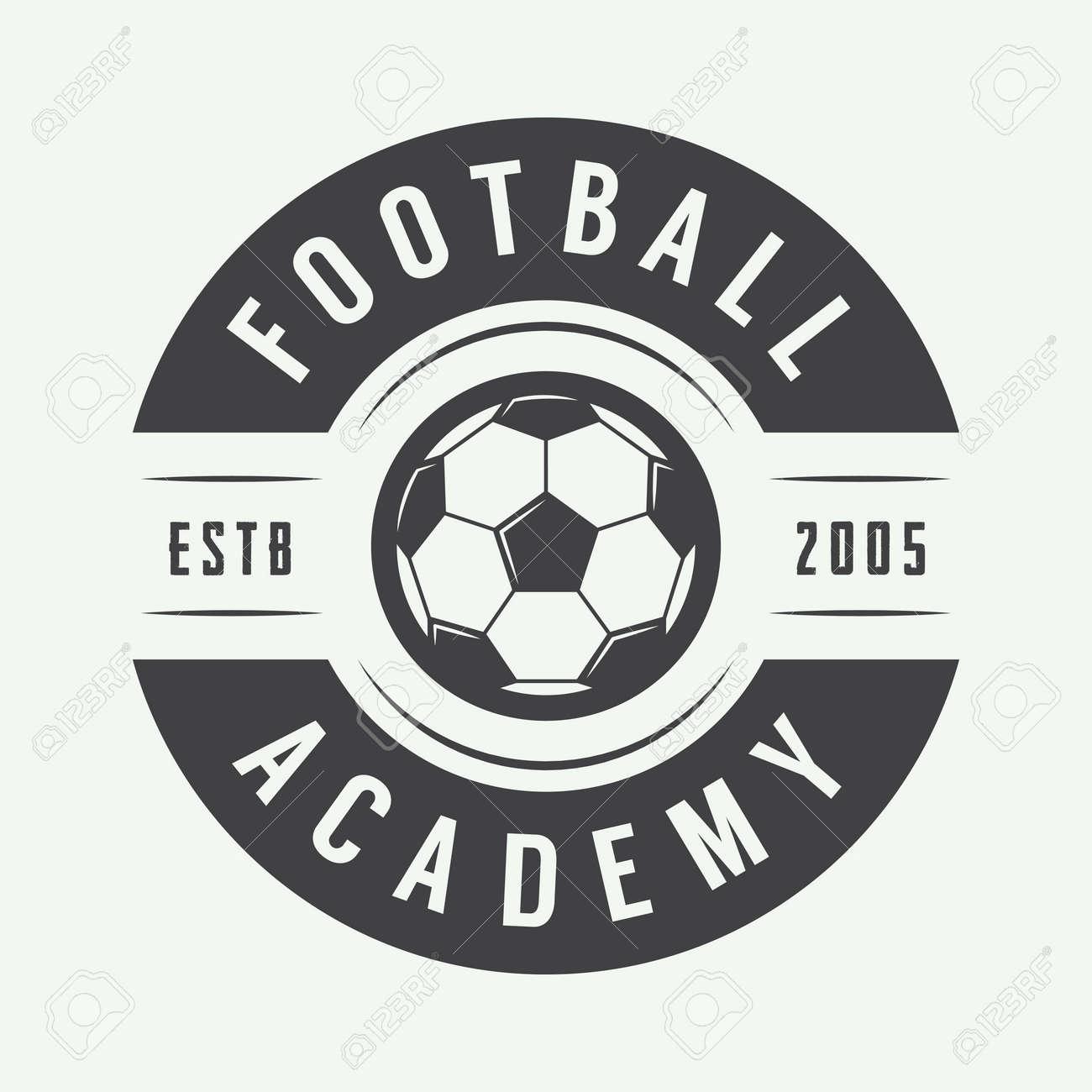 26f7ca645223a Foto de archivo - Fútbol de la vendimia o el logotipo de fútbol