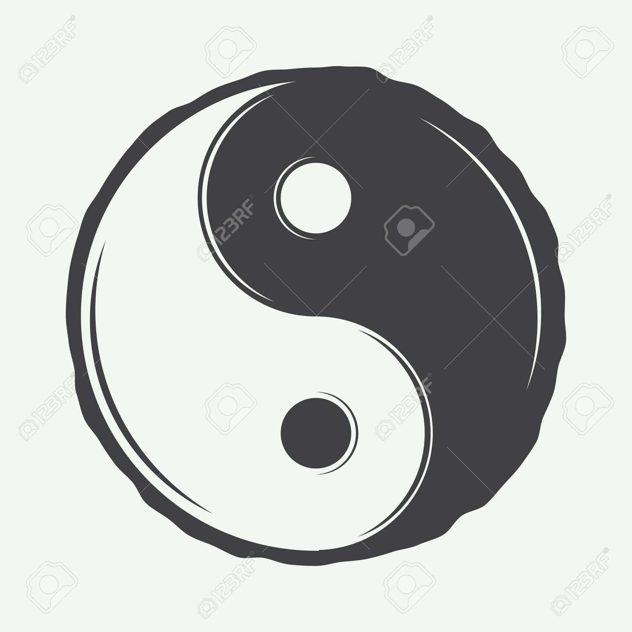 Vintage Yin Yang Symbol In Retro Style Can Be Used To Martial