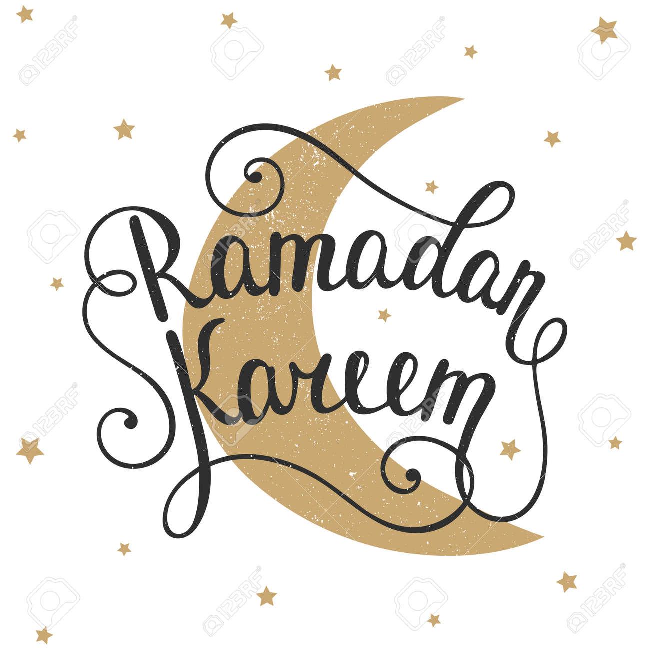 ramadan kareem greeting card design template with modern calligraphy