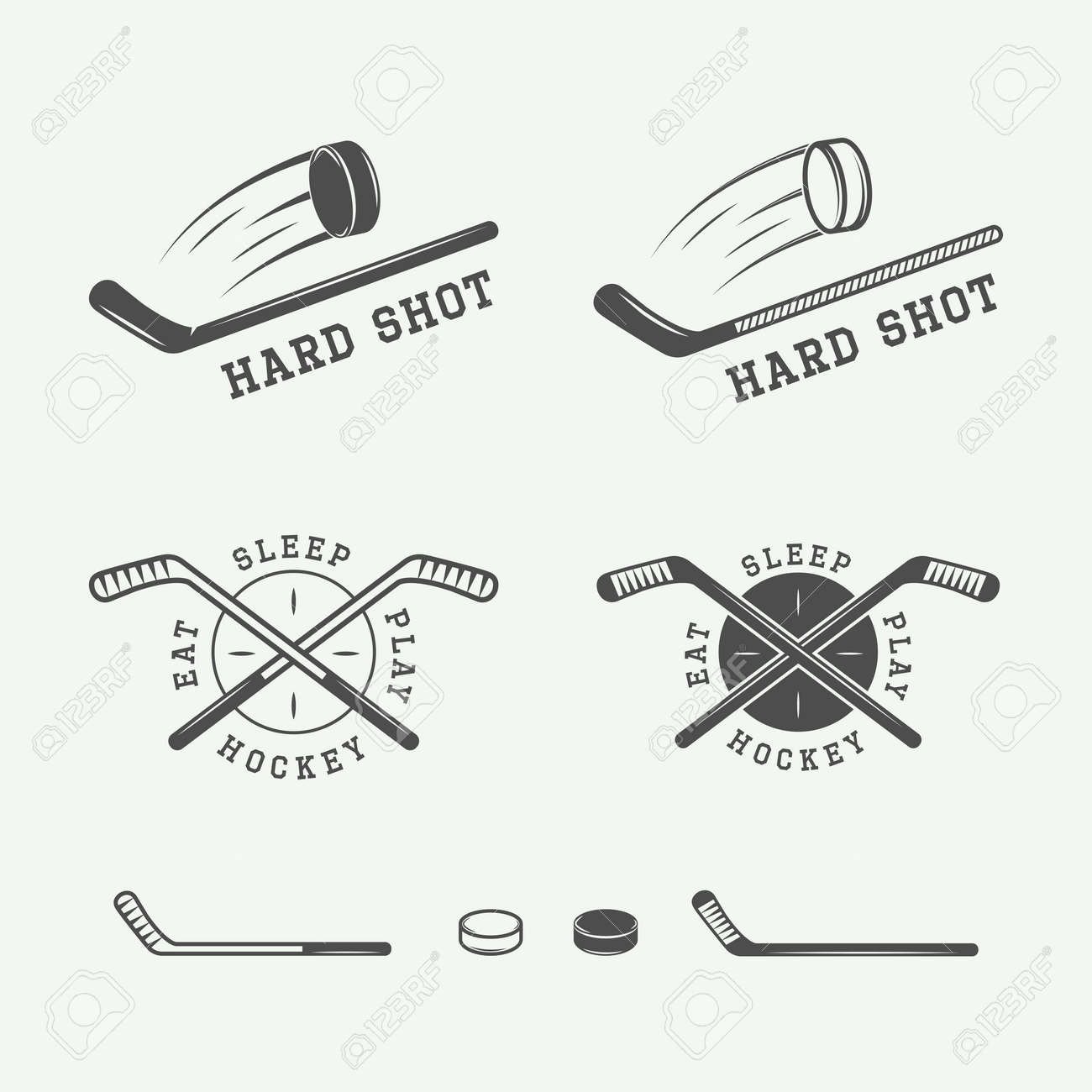 Set of vintage hockey emblems, logos, badges, labels and design