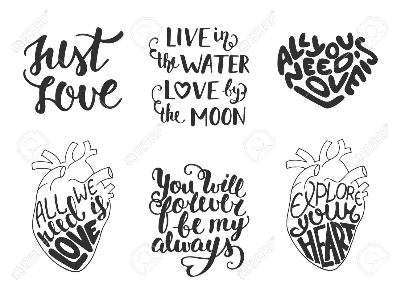 Conjunto De Letras Románticas Amor Amor Vector Para Tarjetas De Felicitación Decoración Grabados Y Carteles Dibujados A Mano Elementos De Diseño De