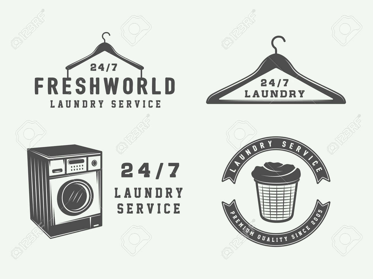 Set Of Vintage Laundry Cleaning Or Iron Service Logos Emblems Badges And Design