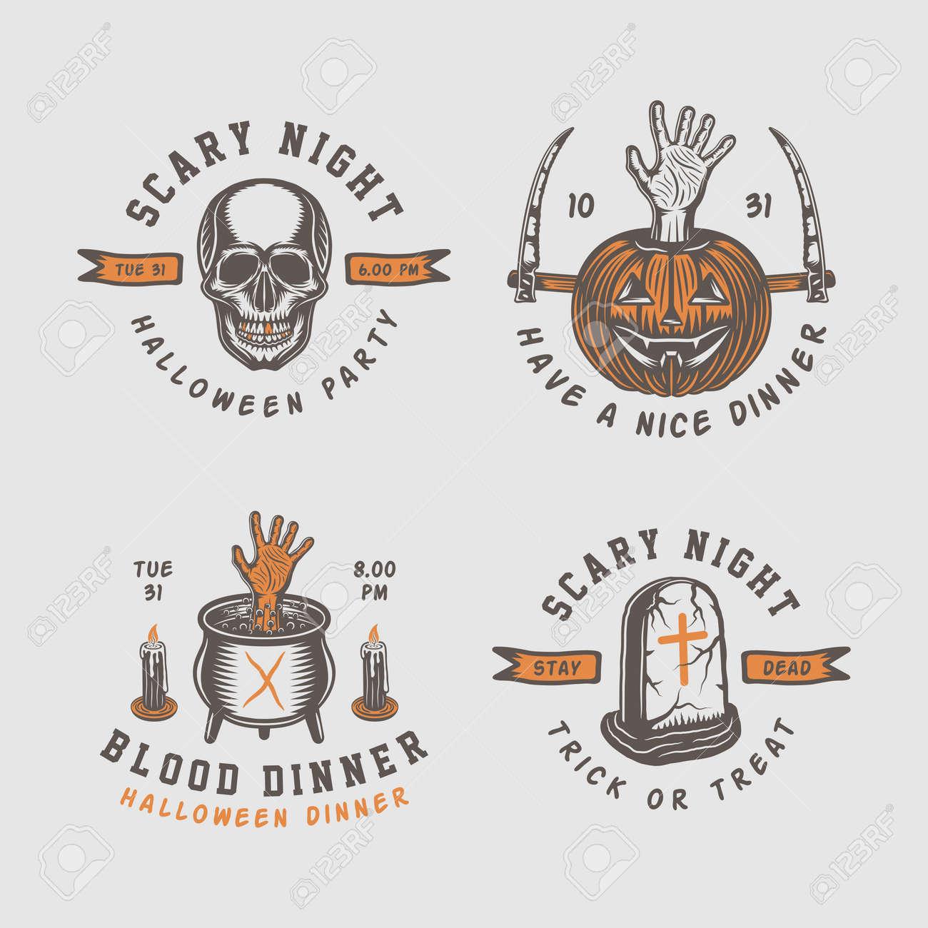 Retro Vintage Halloween Clip Art.Vintage Retro Halloween Logos Emblems Badges Labels Marks