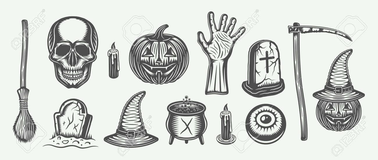 Retro Vintage Halloween Clip Art.Big Vintage Halloween Set Of Broom Skull Pumpkin Hand Graves