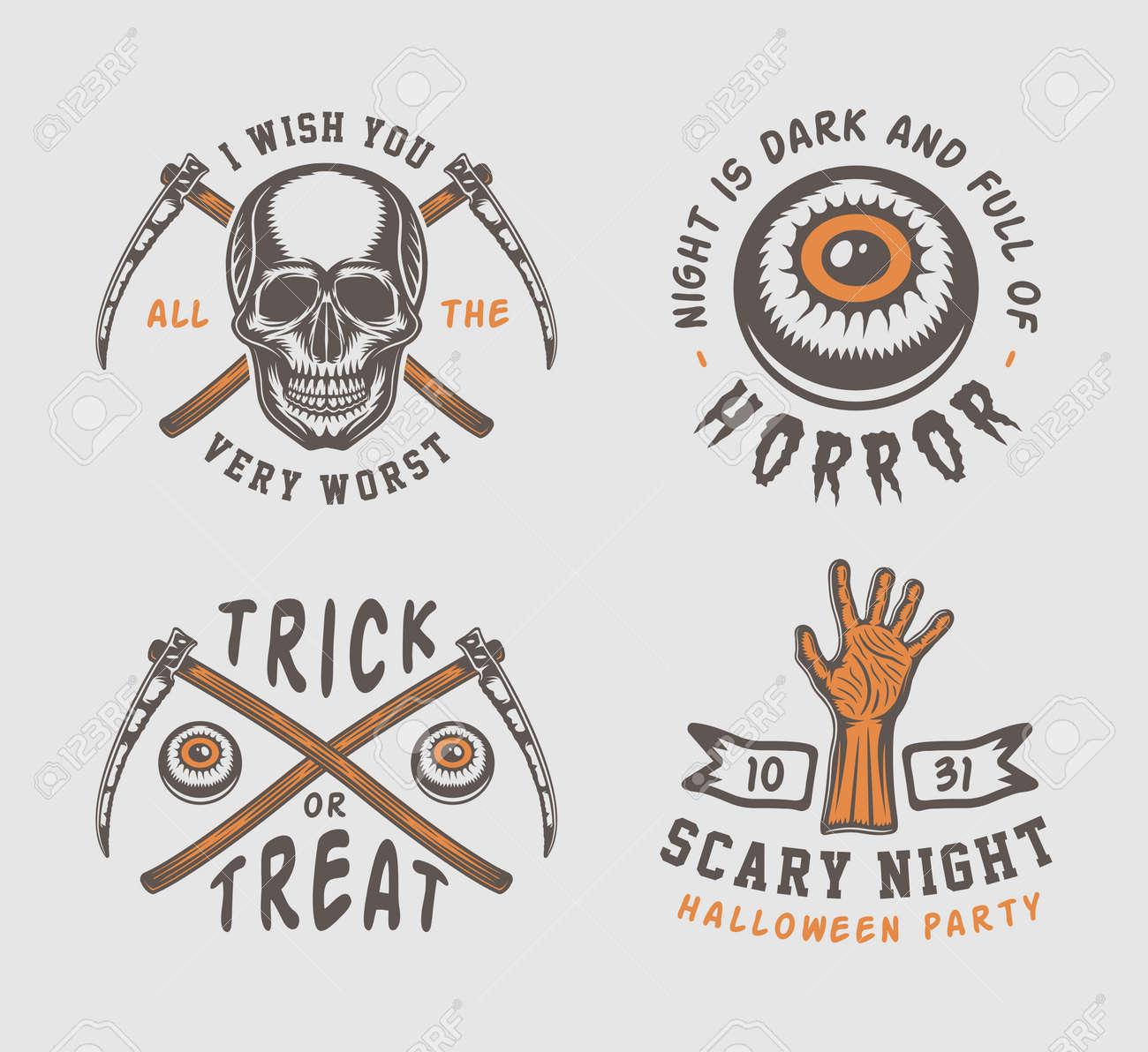 Retro Vintage Halloween Clip Art.Vintage Retro Halloween Logos Emblems Vector Illustration