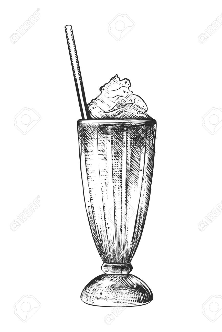 Vector engraved style illustration for posters, decoration and print. Hand drawn sketch of milkshake in monochrome isolated on white background. Detailed vintage woodcut style drawing. - 106722607