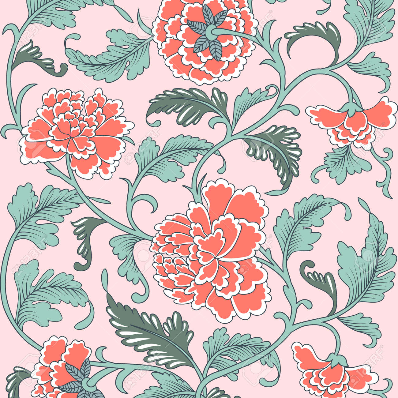 Ornamental beautiful coral color antique floral pattern with peonies. Vector illustration, asian texture for printing on packaging, textiles, paper, covers, manufacturing, wallpapers. - 124281741