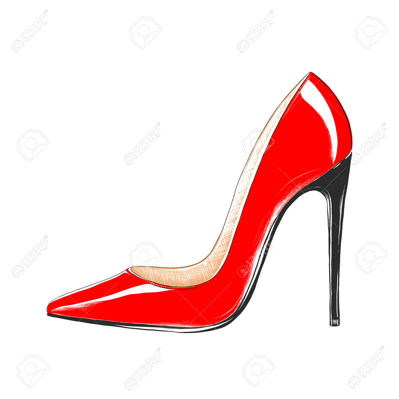 Vector engraved style illustration for posters, decoration and print. Hand drawn sketch of women's high heel shoe in colorful isolated on white background. Detailed vintage woodcut style drawing. - 156222192