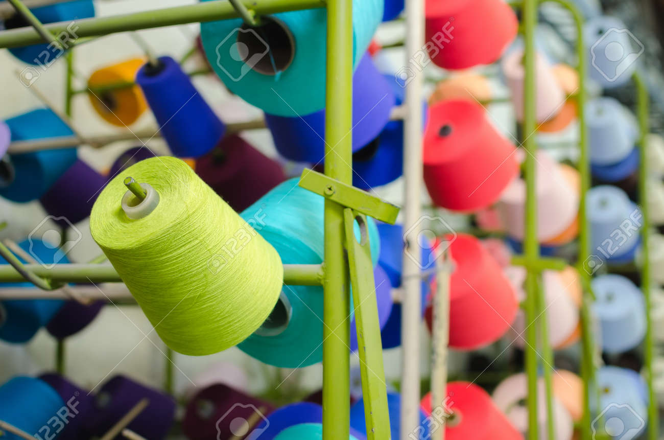 Reels with threads  Textile industry - Weaving and warping