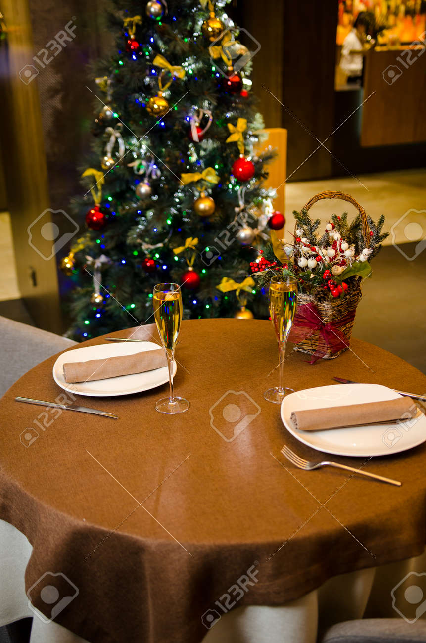 Christmas And New Year Holiday Romantic Table Setting Celebration Stock Photo Picture And Royalty Free Image Image 133515415