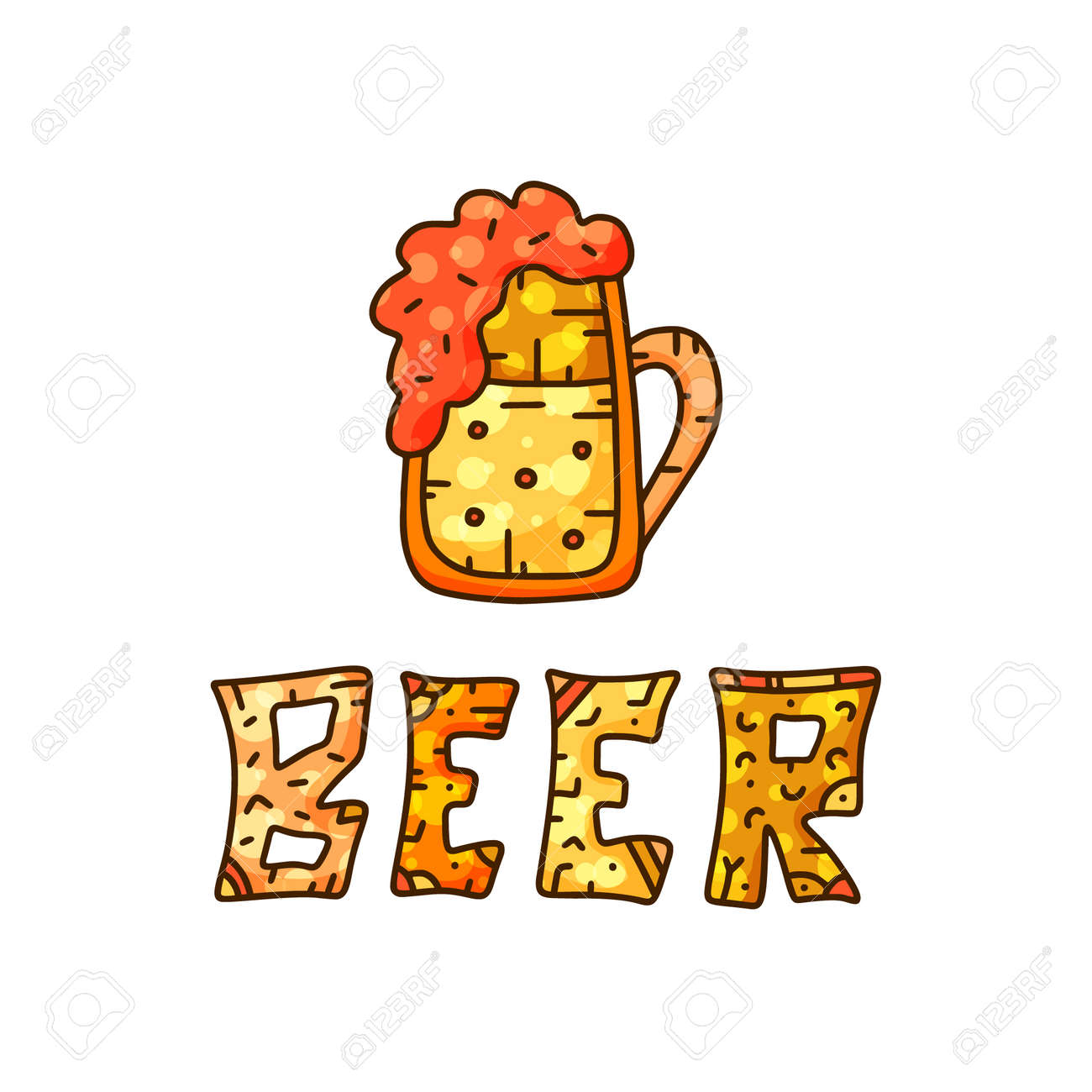 Color Design For Oktoberfest Or Beer Products Doodle Lettering Royalty Free Cliparts Vectors And Stock Illustration Image 130307842