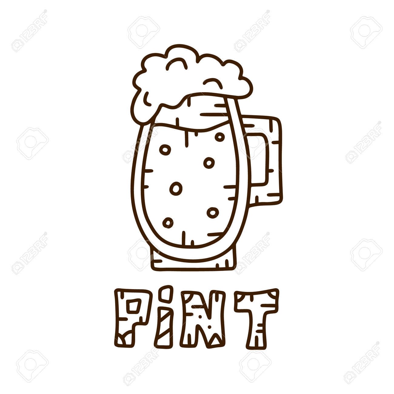 Contour Vector Logo Beer Mug With Hand Drawning Lettering Pint Royalty Free Cliparts Vectors And Stock Illustration Image 130423210