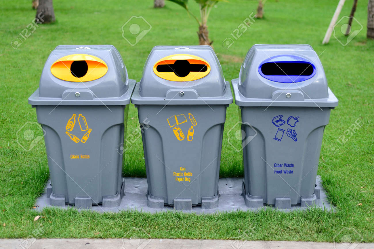 Trash Can Recycle Bin And Bo Recycling Cans Image Of Garbage Simple