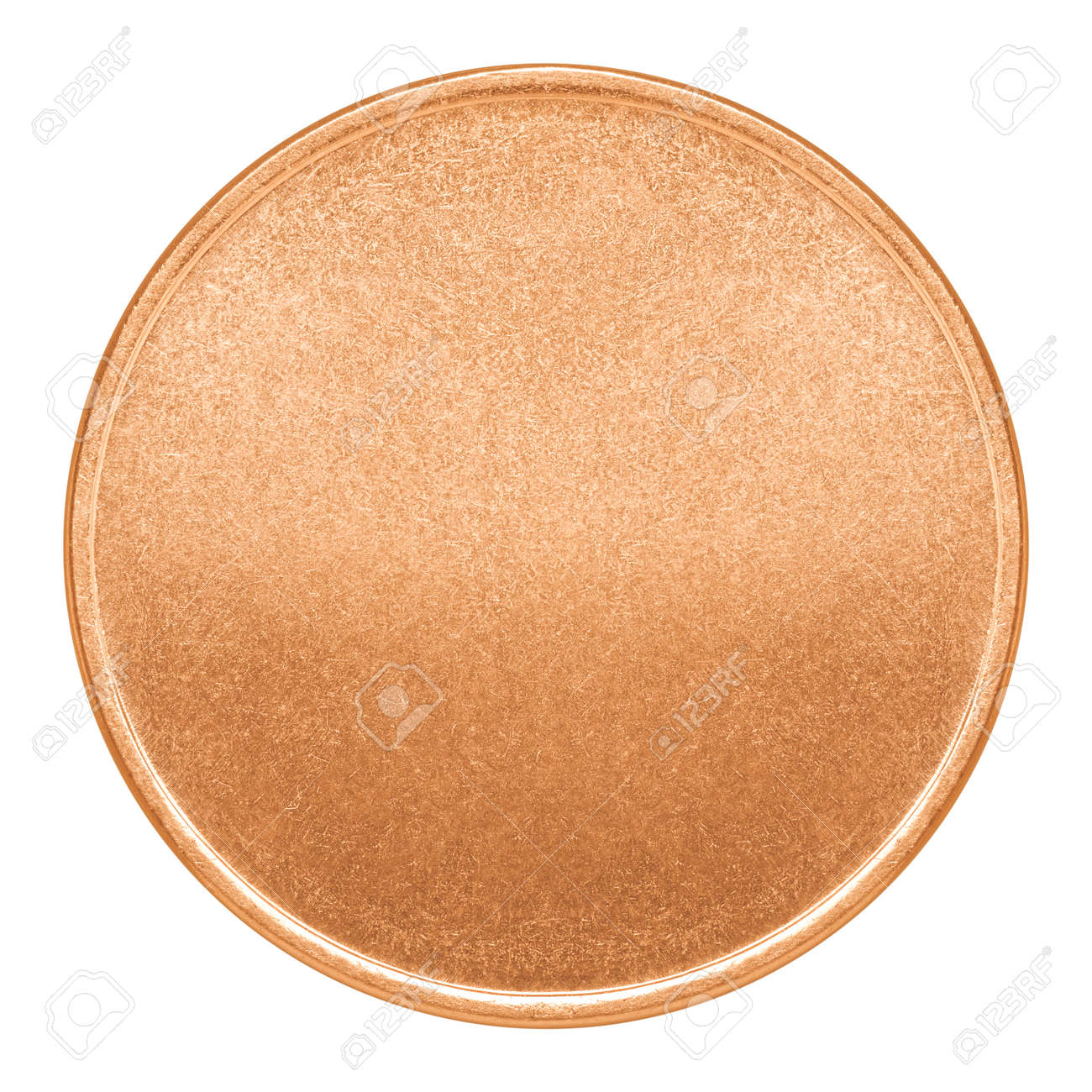 blank template for copper coin or medal with metal texture stock