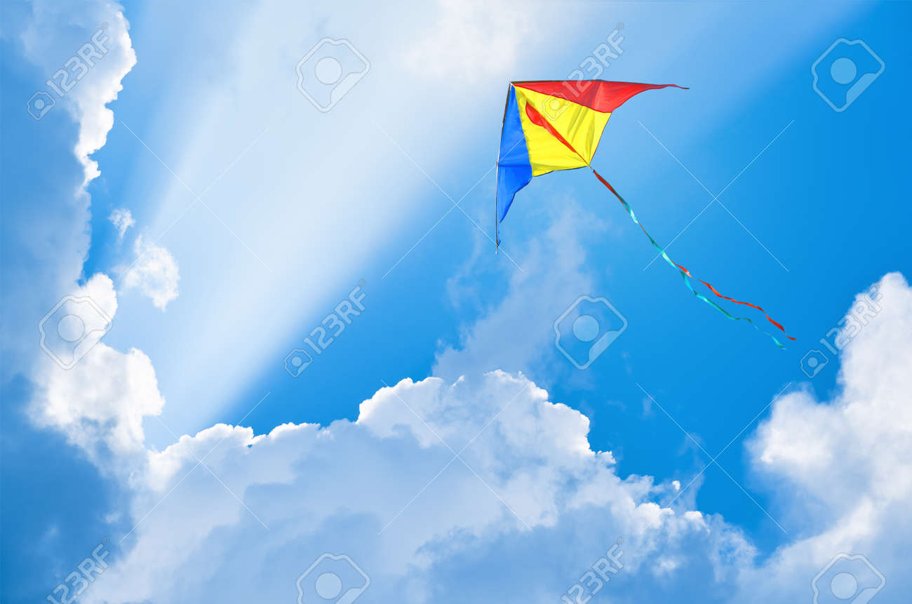 Kite flying in the sky among the clouds - 66533493