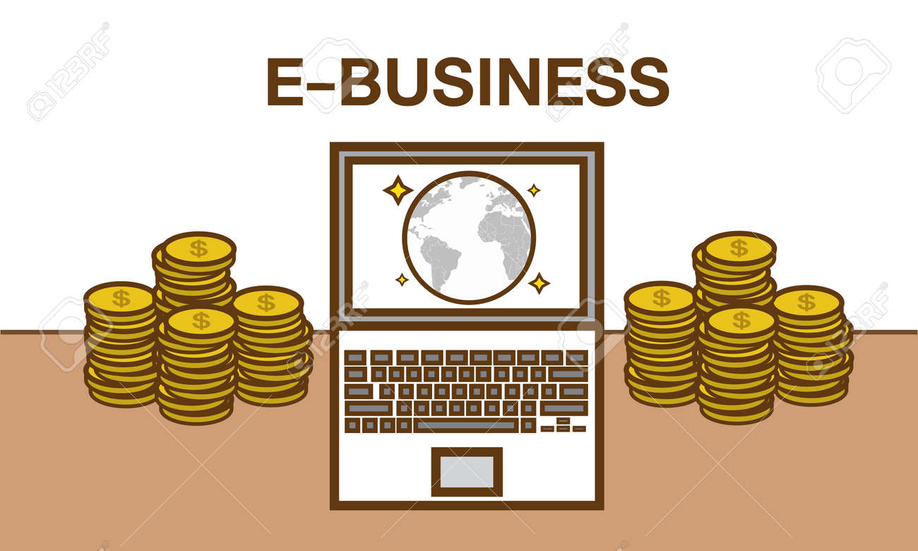 E Business Flat Design Illustration Make Money From Computer