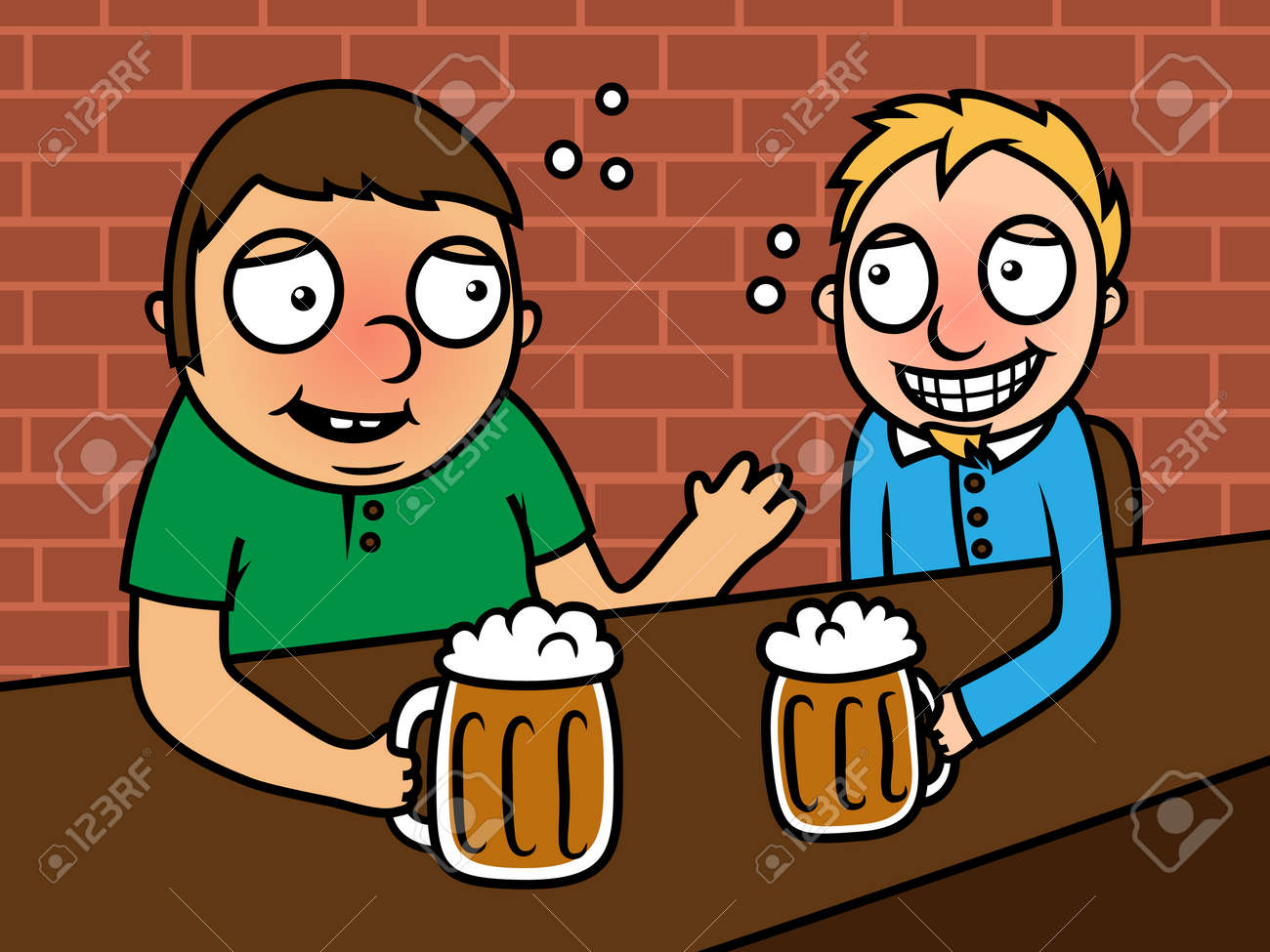 Vector illustration of two adult men sitting in a bar and drinking beer Stock Vector - 22313929