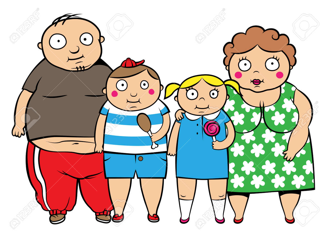 Cartoon vector illustration of fat overweight family, children with parents - 22313930