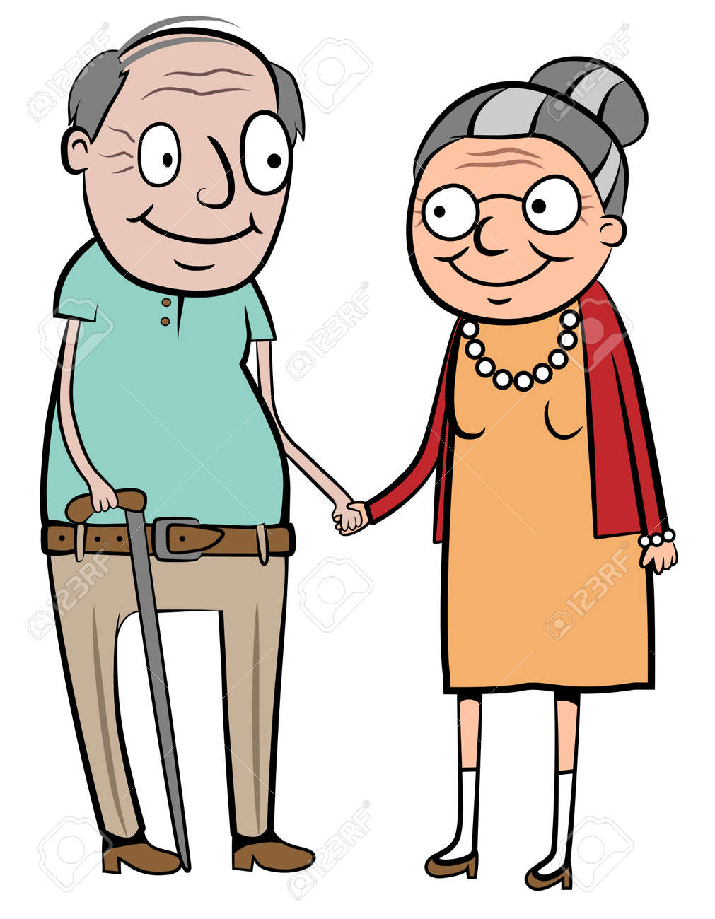 illustration of a happy old couple holding hands royalty free rh 123rf com old couple cartoon clipart old couple clipart black and white