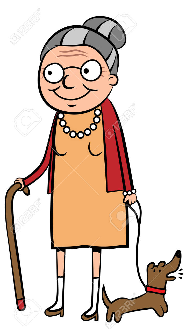 illustration of a happy old woman walking her dog royalty free rh 123rf com old woman clipart black and white old woman face clipart