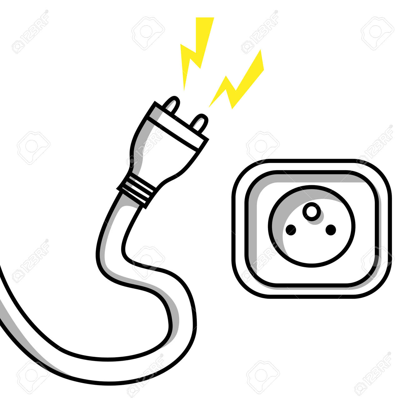 Unplugged Wire Cartoon Center Re Shovel Rigid Wiringneed A Diagram For Dummies Like Me Illustration Of An Cable And Socket Royalty Free Rh 123rf Com Lamp