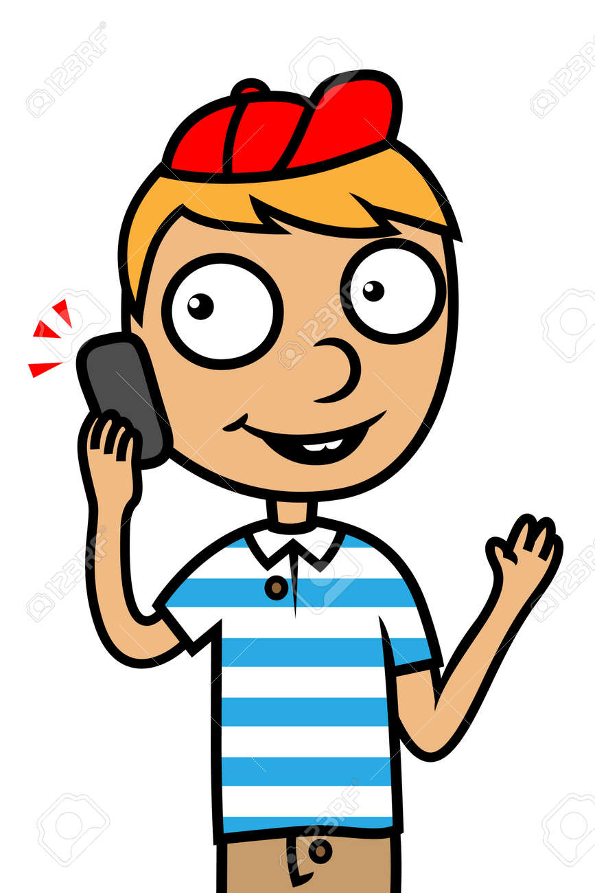 cartoon vector illustration of a child boy talking on phone stock vector 22528732 - Cartoon Picture Of A Child