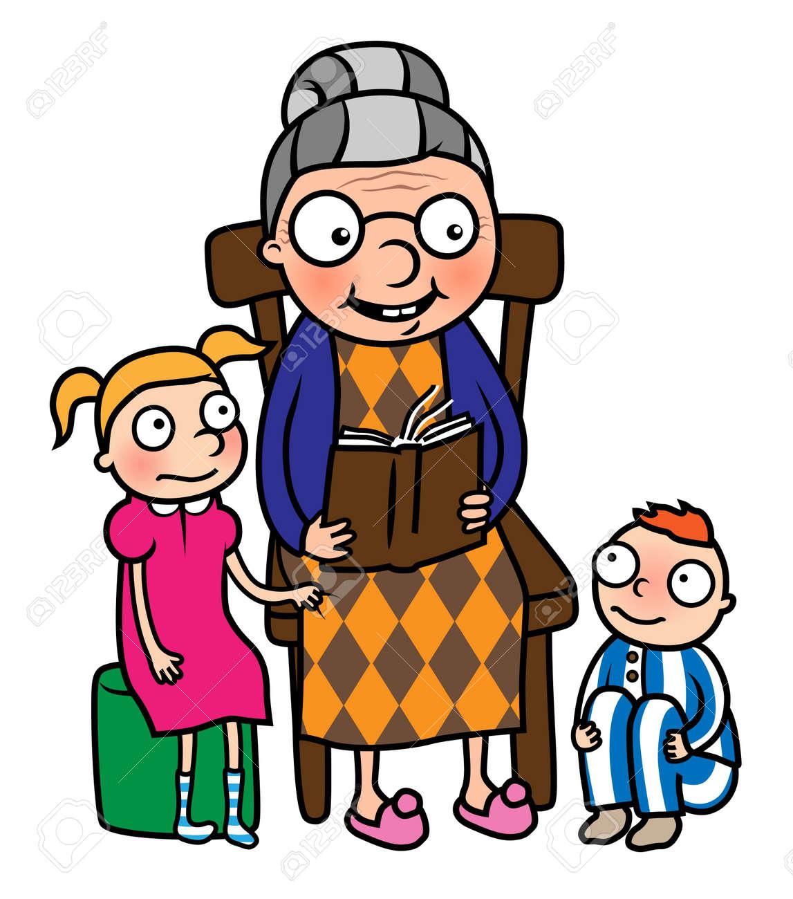 Nanny Cartoon: Cartoon Vector Illustration Of Grandmother Reading Book To  Her Grandchildren Or Nanny Reading