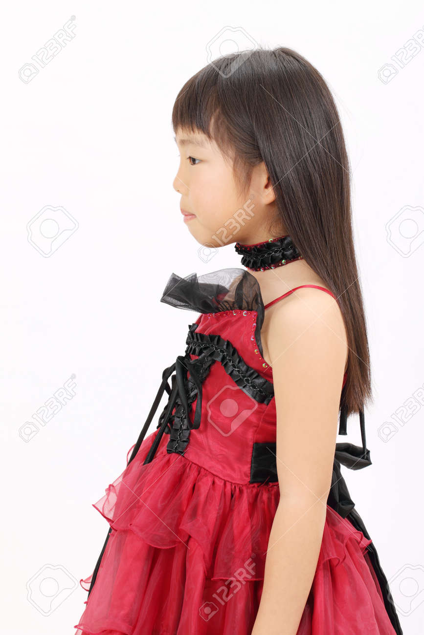 Little Asian Girl Wearing Dress Side View Stock Photo 12937688