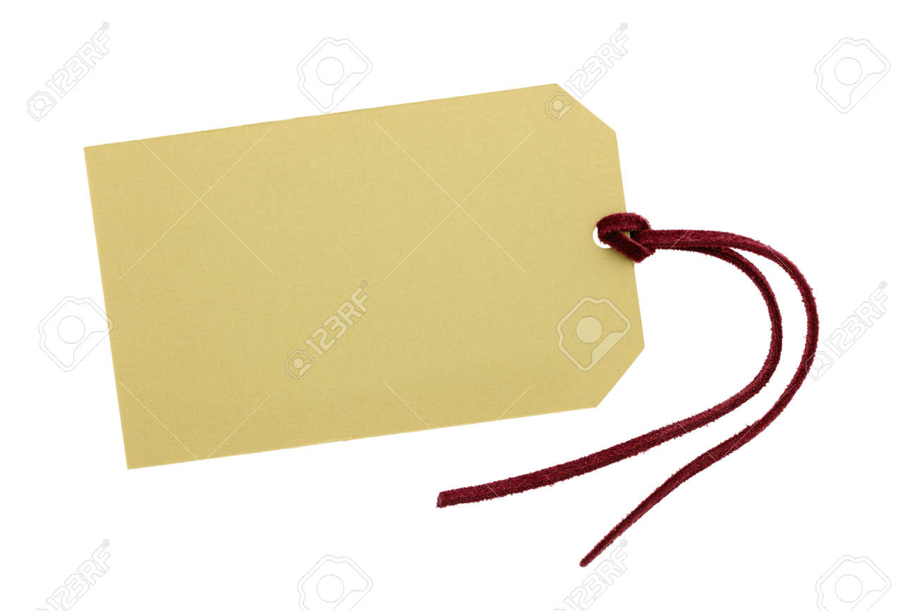 Blank tag with leather string Stock Photo - 14342050