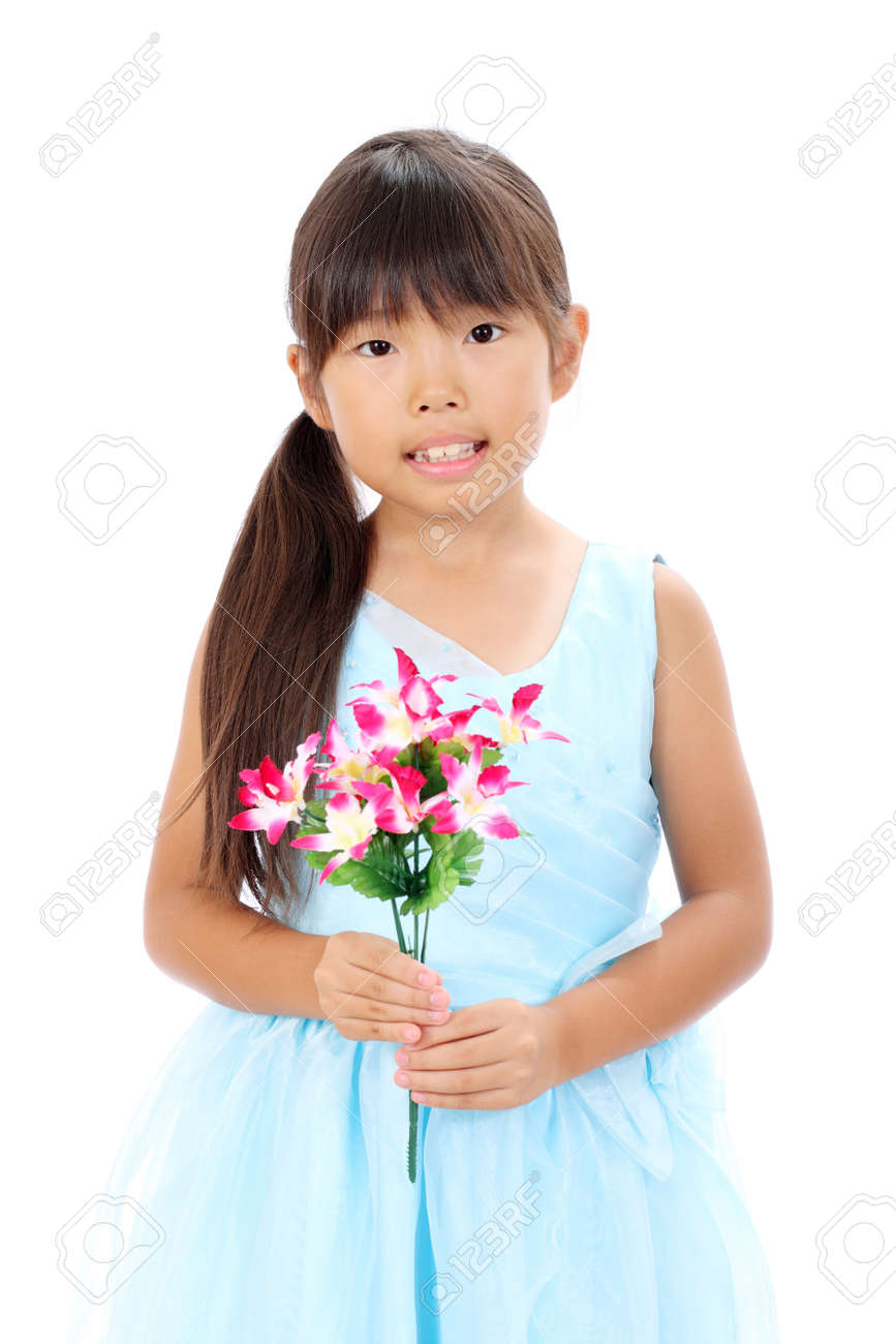Photo of little asian girl holding flower Stock Photo - 16334305