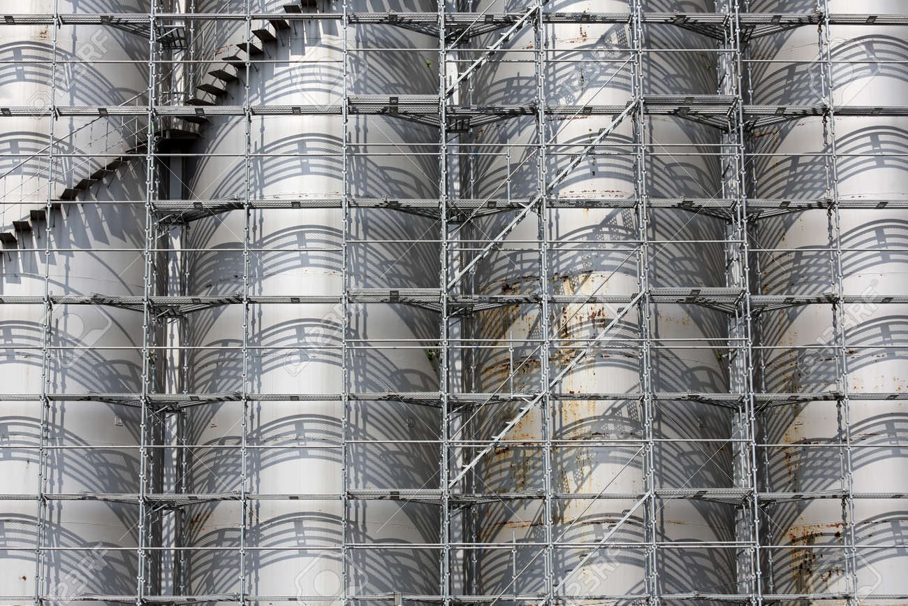 Stock Photo   View Of Scaffolding Industrial Tank Storage