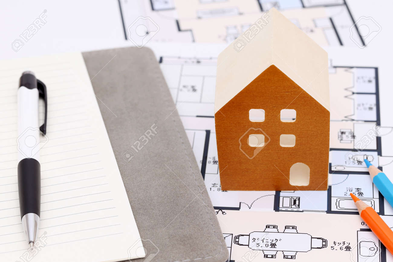 Miniature Model Of House On Blueprints, Construction Plan Stock Photo    68902341