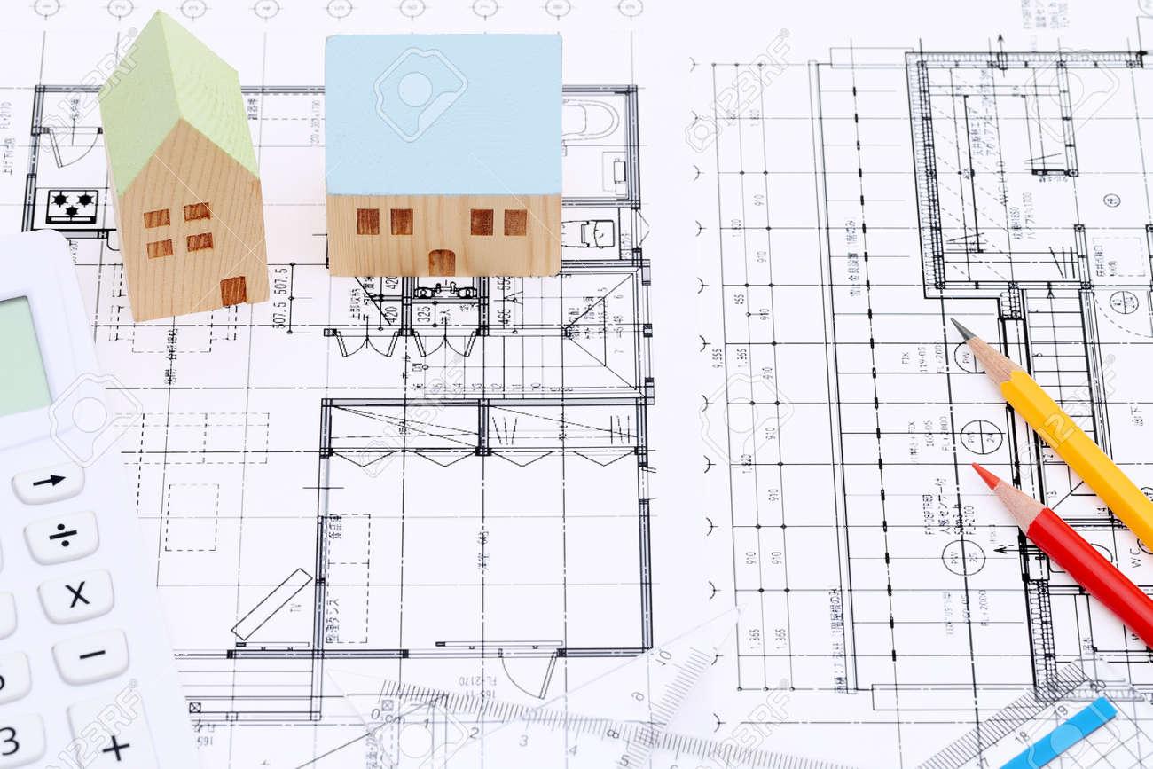 Miniatur-Modell Des Hauses Und Entwürfe, Bau Plan Lizenzfreie Fotos ...