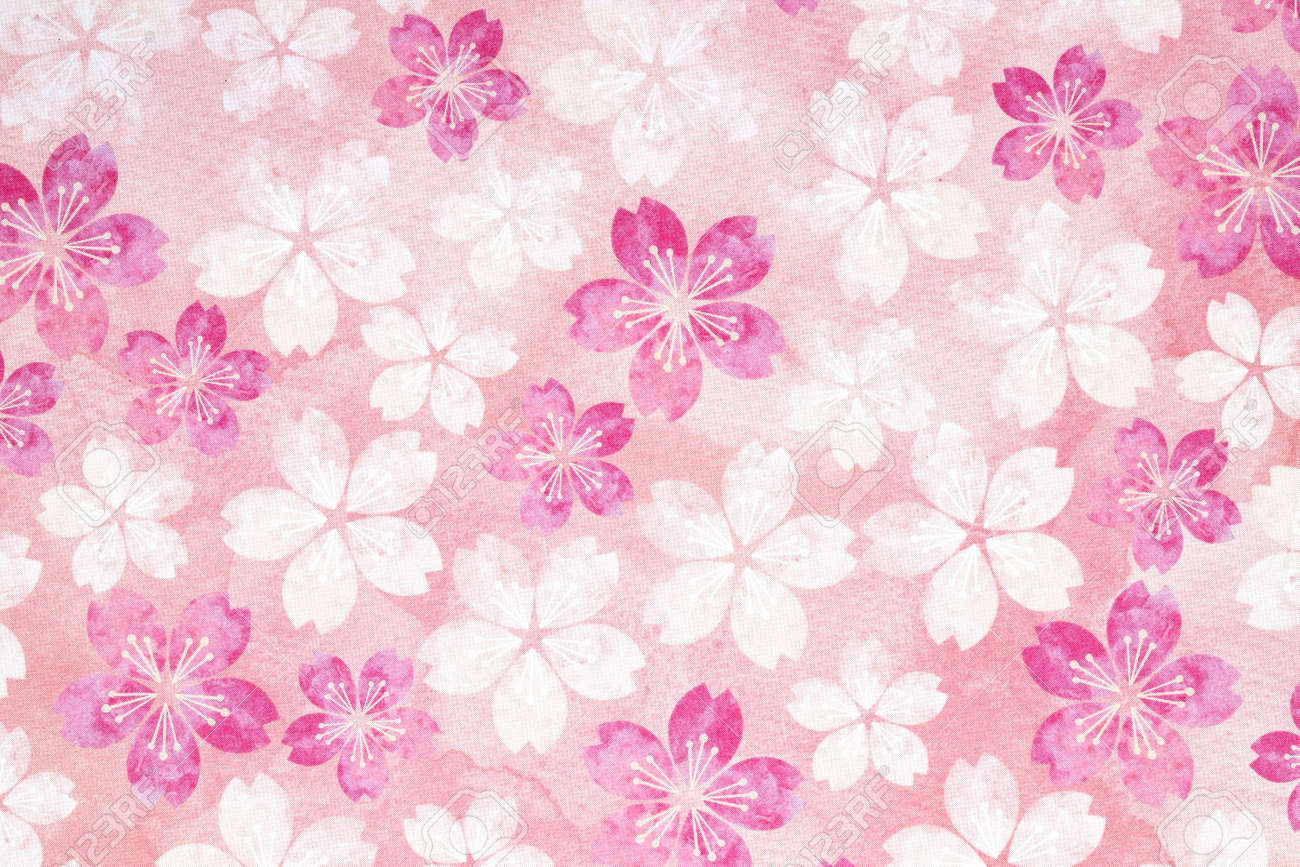 Pattern Pink Flowers Japanese Cherry Blossoms Texture Background