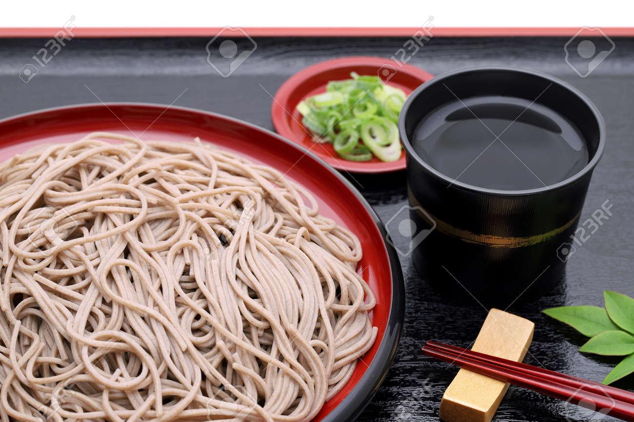 Japanese Zaru soba noodles on wooden plate - 131462567