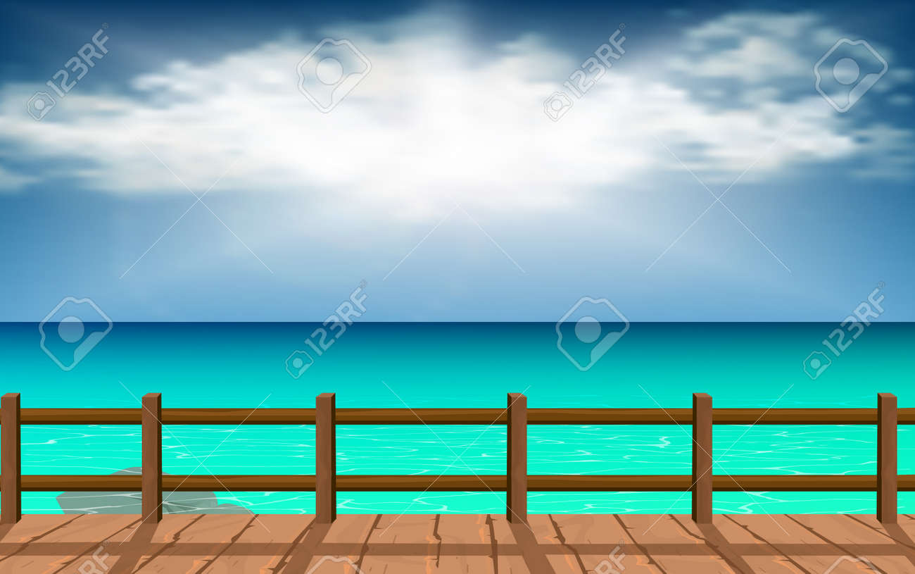 Wood walkways with clear water at the beach - 118828942