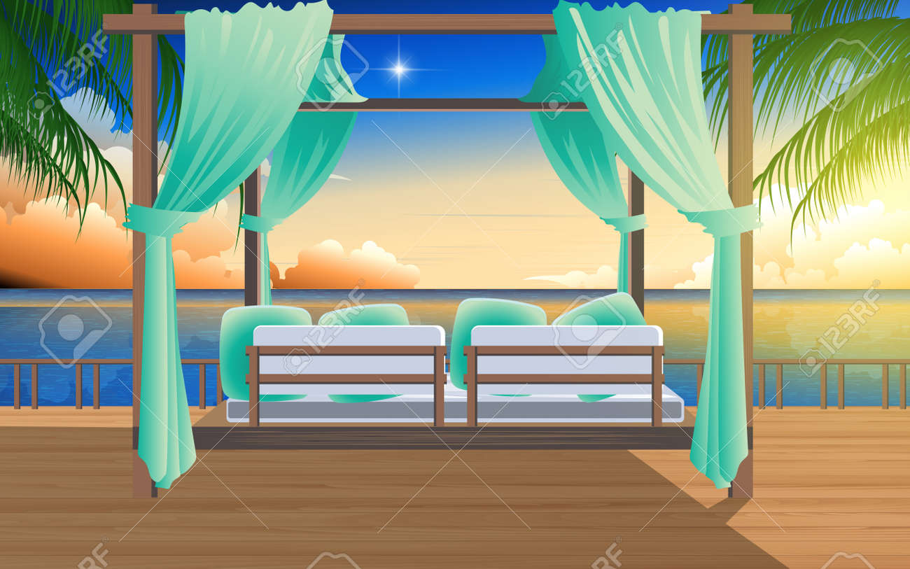 Outdoor Cabana Bed On The Wooden Floor In Resort At The Beach Royalty Free Cliparts Vectors And Stock Illustration Image 128890609