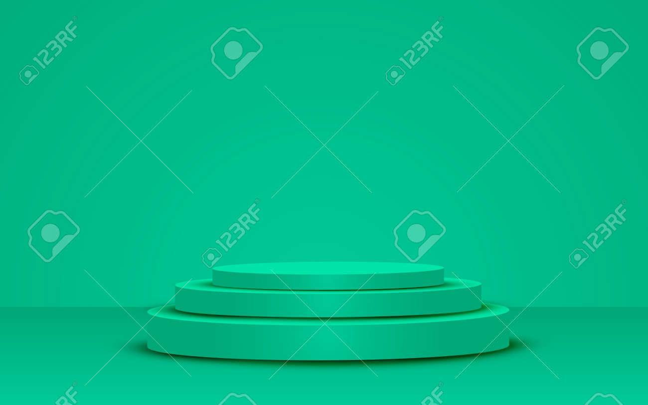green podium in the green studio room - 132362861