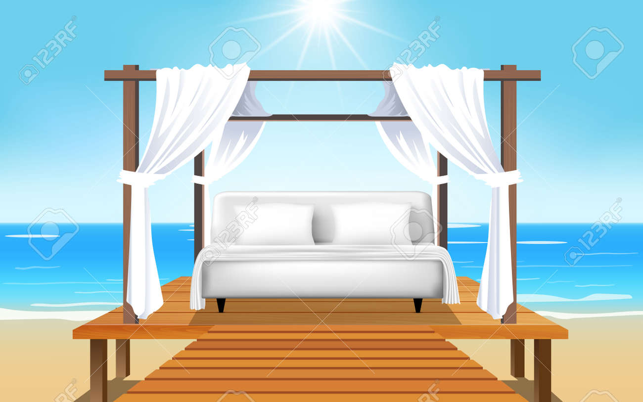 Landscape Outdoor Cabana Bed On The Beach In Day Time Royalty Free Cliparts Vectors And Stock Illustration Image 150845887