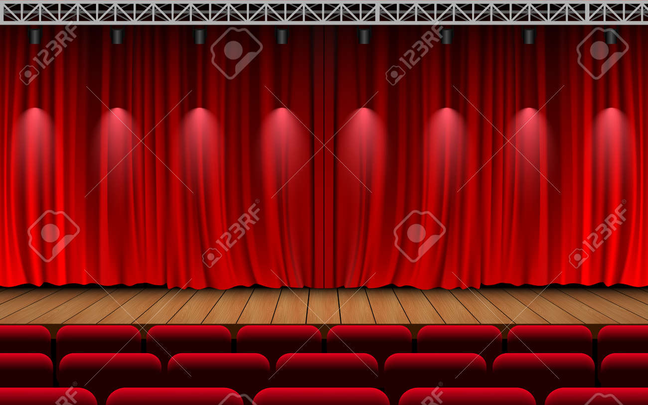 red curtain and light of spotlight on the wooden stage in the hall - 169914376