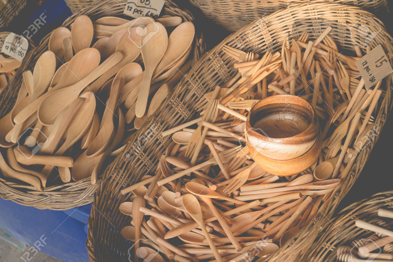 Wooden Kitchenware Handicrafts Vintage Style Stock Photo Picture