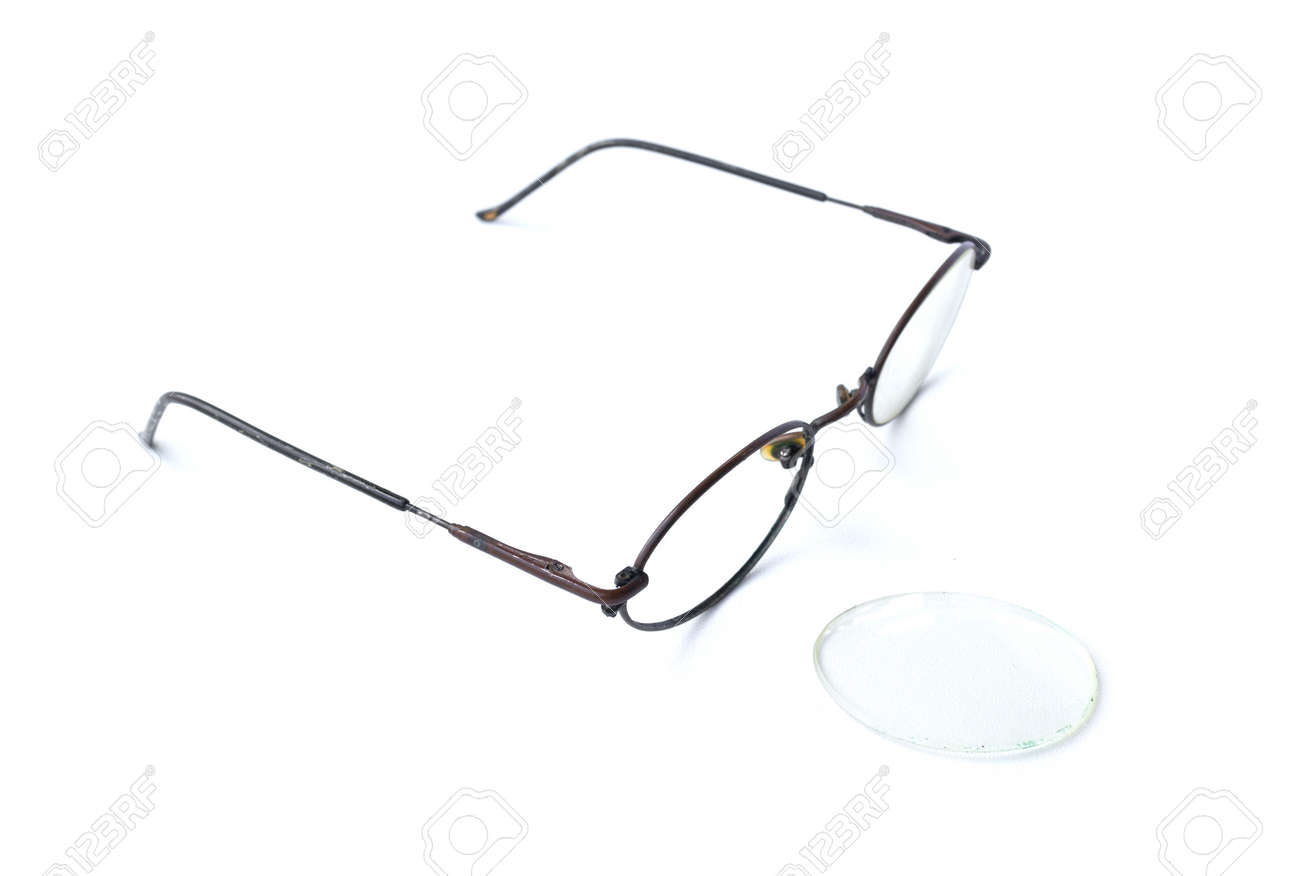 Old Glasses With Broken Brown Lens And Frame Isolated On White ...