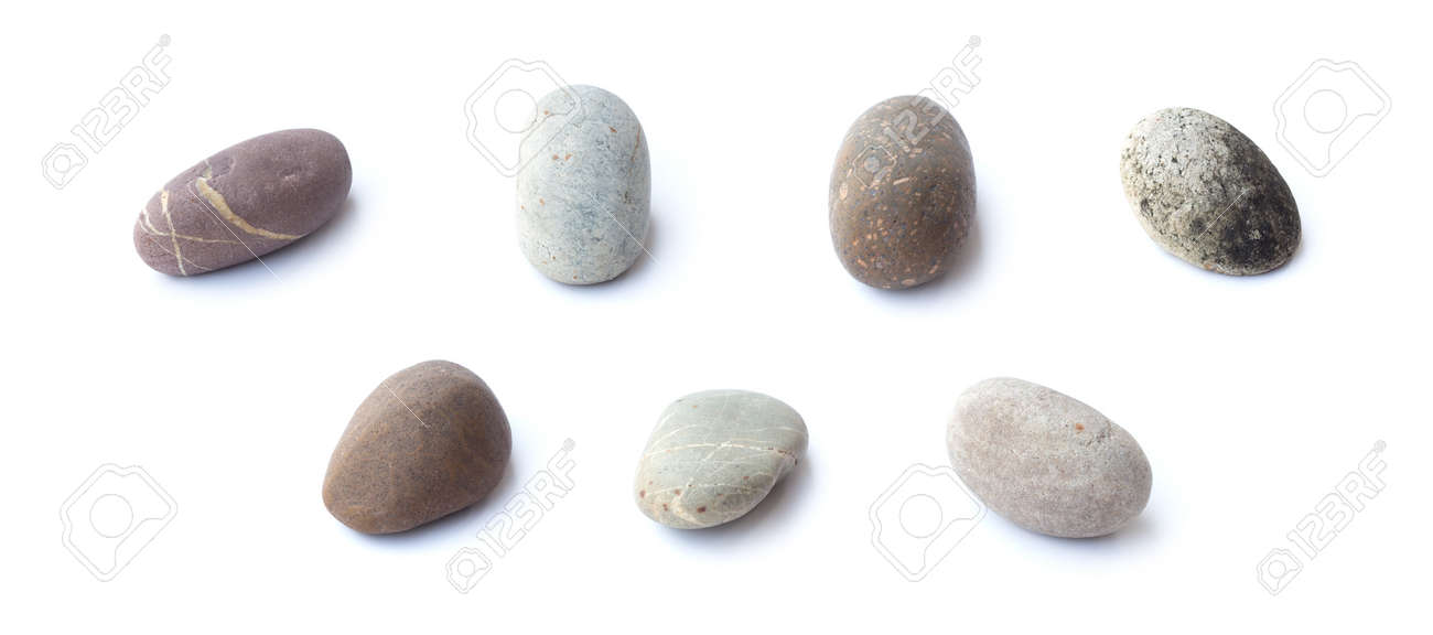 Pebbles Stone Heap Of Stones Isolated On White Background Sea