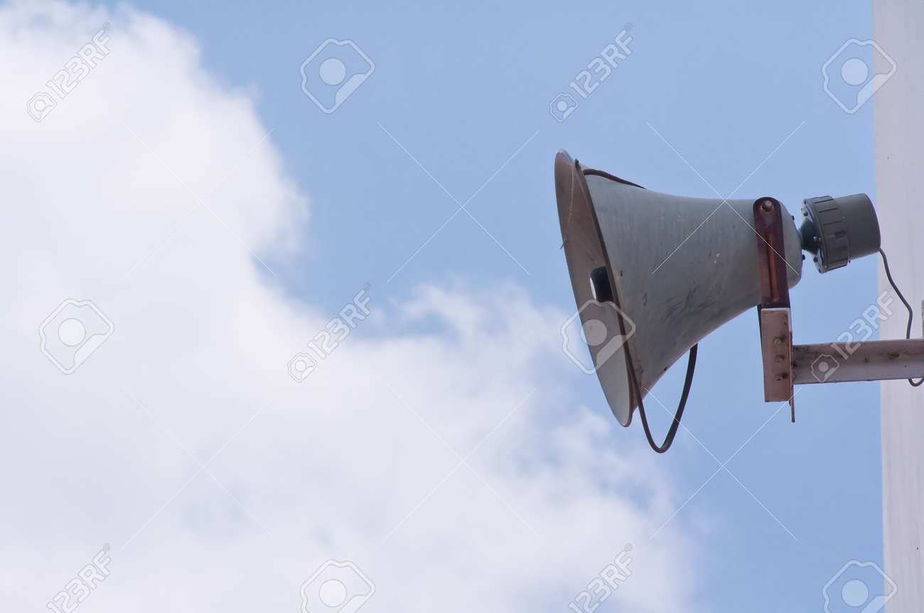 Old loudspeaker against cloudy blue sky Stock Photo - 13448974