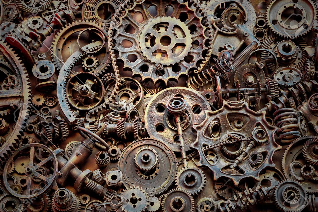 steampunk background machine parts large gears and chains from